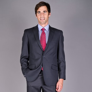 Carlo Lusso Men's lim Fit Charcoal Stripe 2-Button Suit