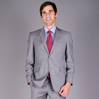Mantoni Men's Slim Fit Light Grey Sharkskin 2-Button Wool Suit