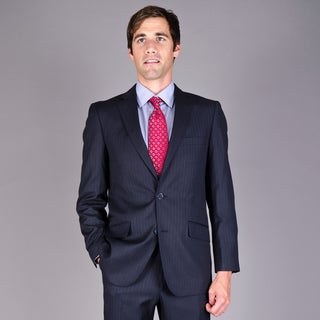 Carlo Lusso Men's Slim Fit Navy Stripe 2-Button Suit