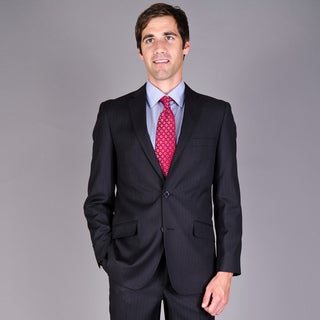 Carlo Lusso Men's Slim Fit Black Tonal 2-Button Suit