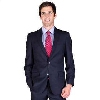 Carlo Lusso Men's Slim Fit Navy Tonal 2-Button Suit
