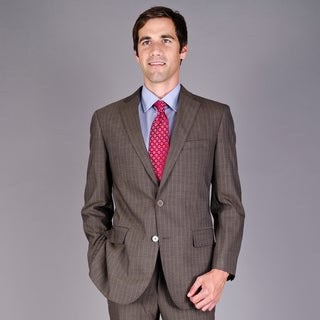 Mantoni Men's Brown Stripe 2-Button Virgin Wool Suit