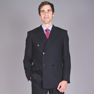 Mantoni Men's Black Tone Double Breasted Wool Suit