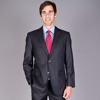 Men's Dark Brown Stripe 2-button Wool Suit