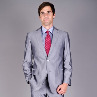 Mantoni Men's Silver Grey 2-Button Virgin Wool Suit