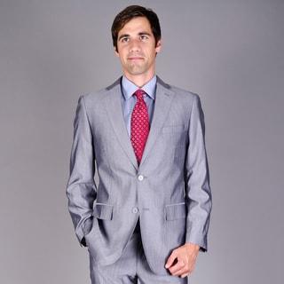 Men's Silver Grey 2-Button Virgin Wool Suit