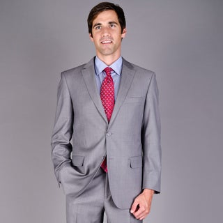 Men's Light Grey Sharkskin 2-Button Wool Suit