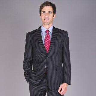 Men's Black Striped Two-Button 100 Percent Virgin Wool Suit