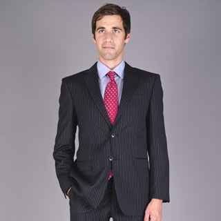Men's Wrinkle-Resistant Black Striped Two-Button Wool Suit