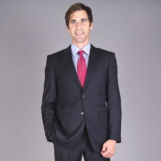 Men's Navy Striped Two-Button Wool Suit with Three Exterior Pockets