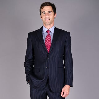 Men's Navy Multi-striped 2-Button Wool Suit