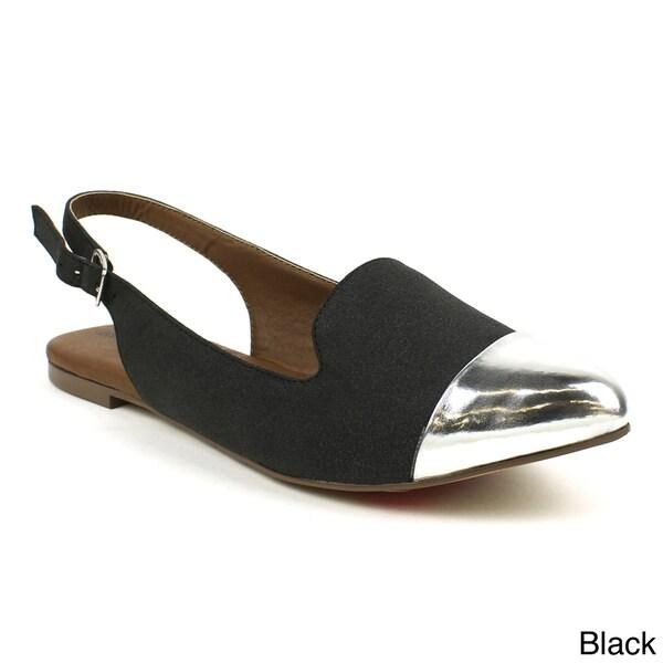 Mark & Maddux Women's 'Jenni-01' Slingback Pointed Cap-toe Ballerina Flats