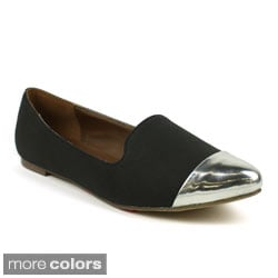 Mark & Maddux Women's 'Jenni-02' Pointed Metallic Cap-toe Ballerina Flats