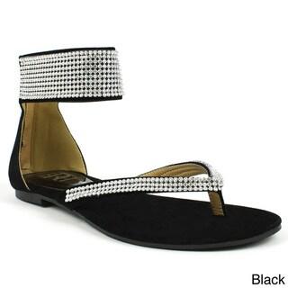 Fahrenheit Women's 'Famke-05' Rhinestones Ankle-strap Flat Sandals