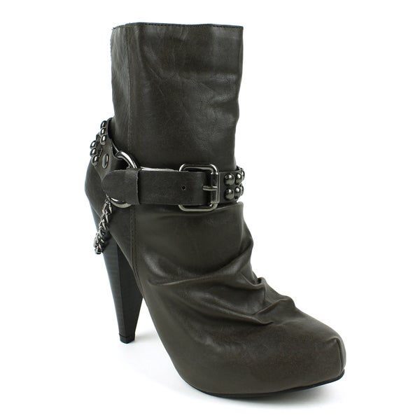 Toi et Moi Women's 'Maquis-02' Grey Studded Chain Ankle Booties