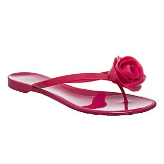 Valentino Women's Fuchsia PVC Rose-detailed Flip-Flops