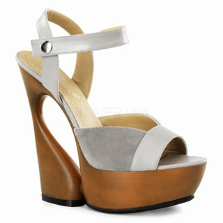 Pleaser Day & Night Women's 'Swan' Suede Peep-Toe Sculpted Wedge Heels