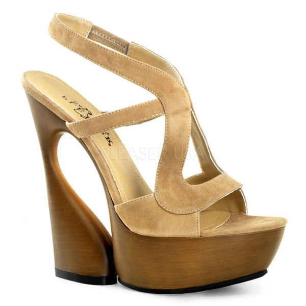Pleaser Day & Night Women's 'Swan' Cut-out Slingback Sculpted Heels