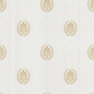Brewster White Leaf Medallion Wallpaper
