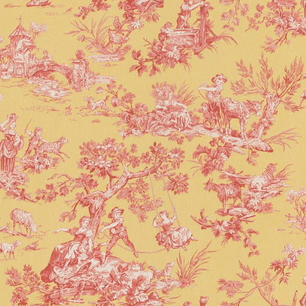 21 Best Toile Wall Paper Images On Pinterest: Brewster Red Vintage Toile Wallpaper