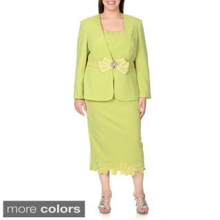 Giovanna Signature Plus Size Mock 3-piece Skirted Suit
