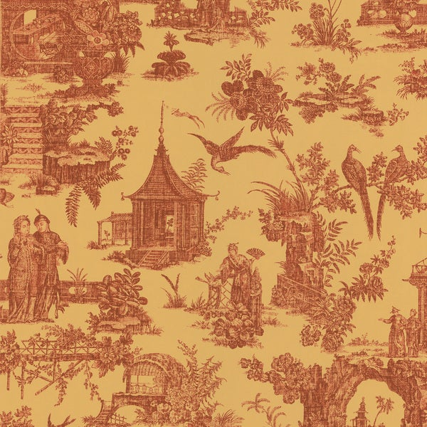 21 Best Toile Wall Paper Images On Pinterest: Brewster Red Asian Inspired Toile Wallpaper