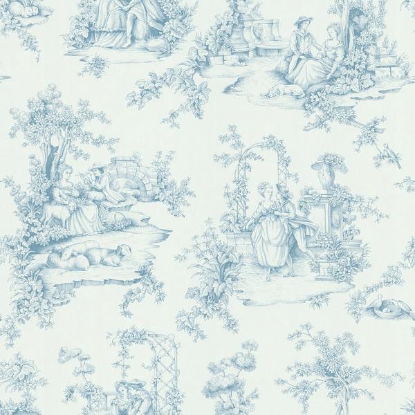 brewster light blue botanical toile wallpaper