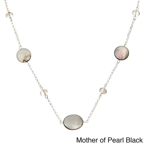 Alexa Starr Silvertone Mother of Pearl and Faceted Glass Long Necklace