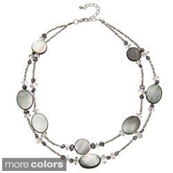 Alexa Starr Silvertone Mother of Pearl and Glass Bead 2-row Necklace