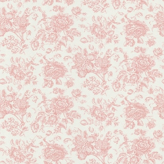 Brewster Pink Floral Toile Wallpaper