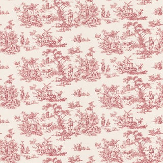 Brewster Red Inviting Toile Wallpaper
