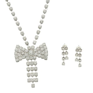 Alexa Starr Silvertone Rhinestone Bow Jewelry Set