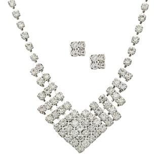 Alexa Starr Silvertone White Rhinestone Chevron Jewelry Set