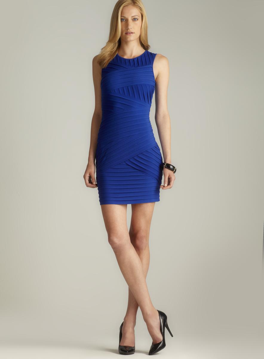 Calvin Klein Sleeveless Asymmetrical Pintucked Dress