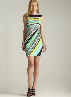 Tahari Hardware Side Gathered Striped Dress