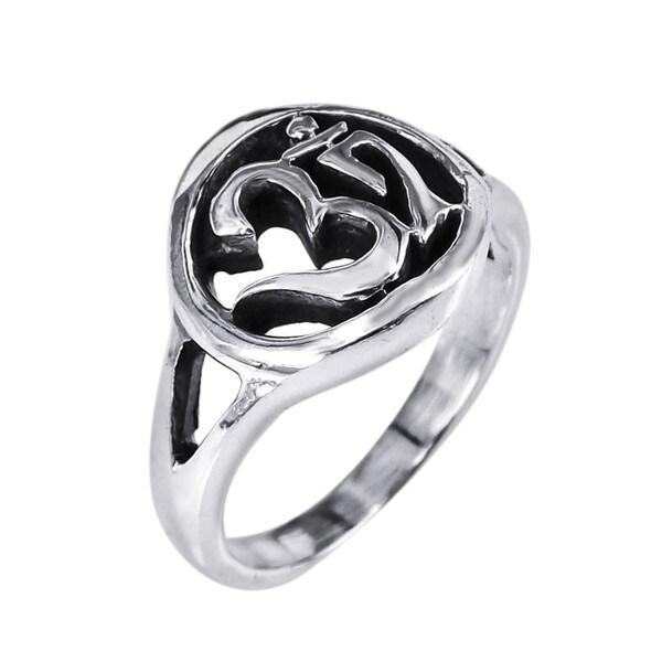 Sterling Silver Spiritual Symbol Aum/ Om Prayer Ring (Thailand)
