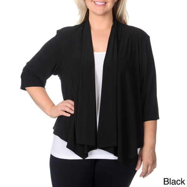 R & M Richards Plus Size Black Shrug
