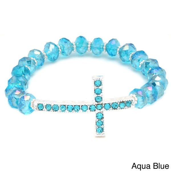 Horizontal Cross and Crystal Stretch Bracelet 11321596