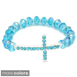 Horizontal Cross and Crystal Stretch Bracelet