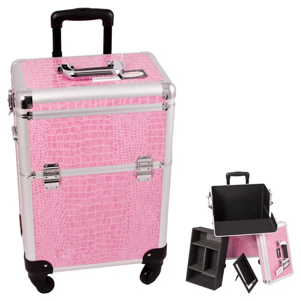 Craft Accents Pink Crocodile Textured Aluminium Art Supply Storage Case/ Box