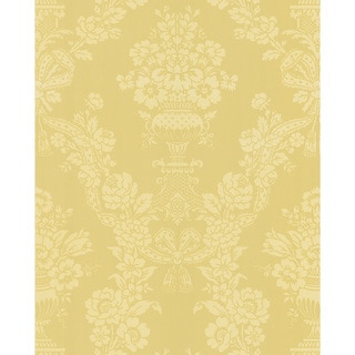 Brewster Light Yellow Floral Damask Wallpaper