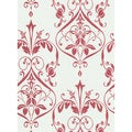 Brewster Red Botanical Scroll Wallpaper