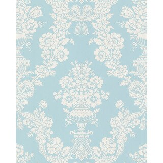 Brewster Aqua Floral Damask Pre-pasted Wallpaper