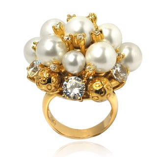 De Buman 14k Gold Overlay Faux Pearl and Cubic Zirconia Ring