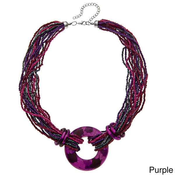 Alexa Starr Glass and Wood Accent Multi-row Beaded Necklace