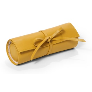 Morelle Carrie Mustard Genuine Top Grain Leather Jewelry Roll Tie