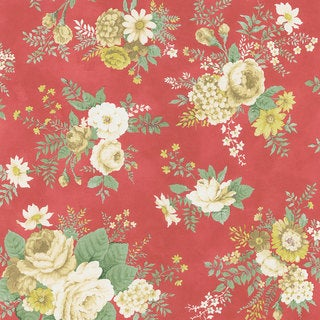 Brewster Red Vintage Botanical Wallpaper