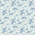 Brewster Blue Floral Toile Wallpaper