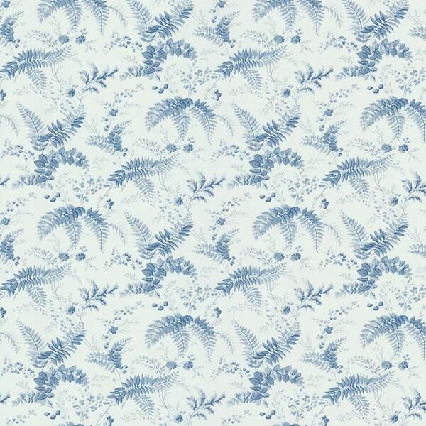 Brewster Blue Floral Toile Wallpaper