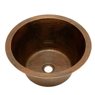 15-inch Round Hammered Copper Sink
